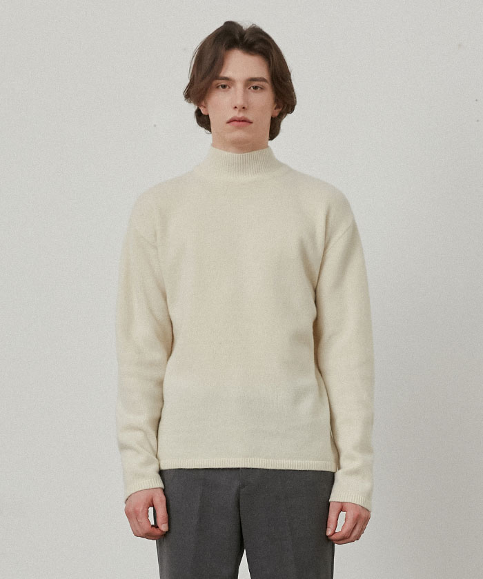 PURE CASHMERE TURTLENECK KNIT[IVORY]