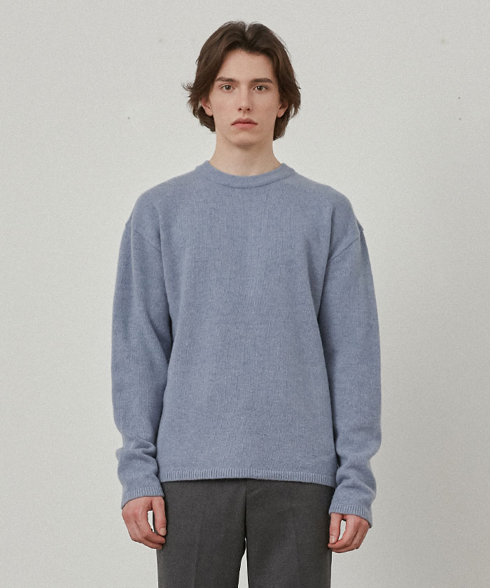 PURE CASHMERE ROUNDNECK KNIT[GREYISH BLUE]
