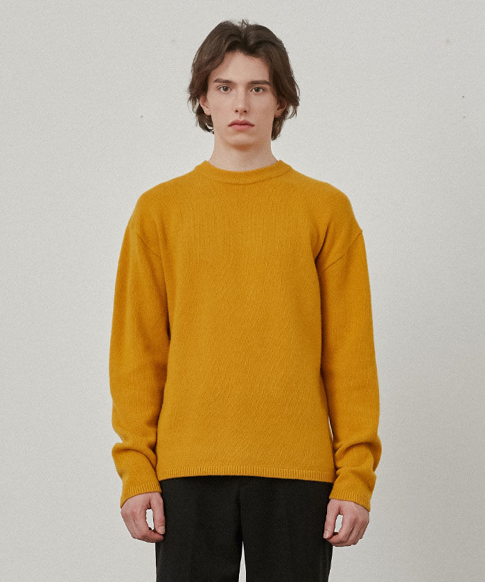 PURE CASHMERE ROUNDNECK KNIT[MUSTARD]