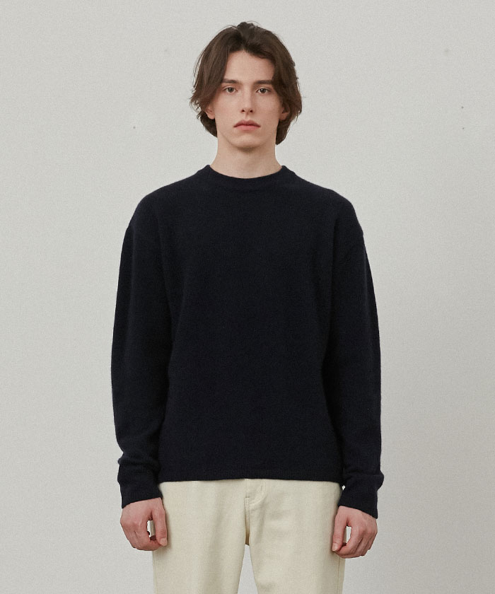 PURE CASHMERE ROUNDNECK KNIT[NAVY]