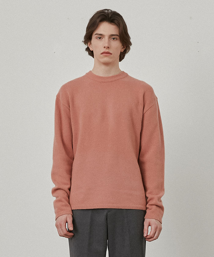 PURE CASHMERE ROUNDNECK KNIT[DUSTY CORAL]