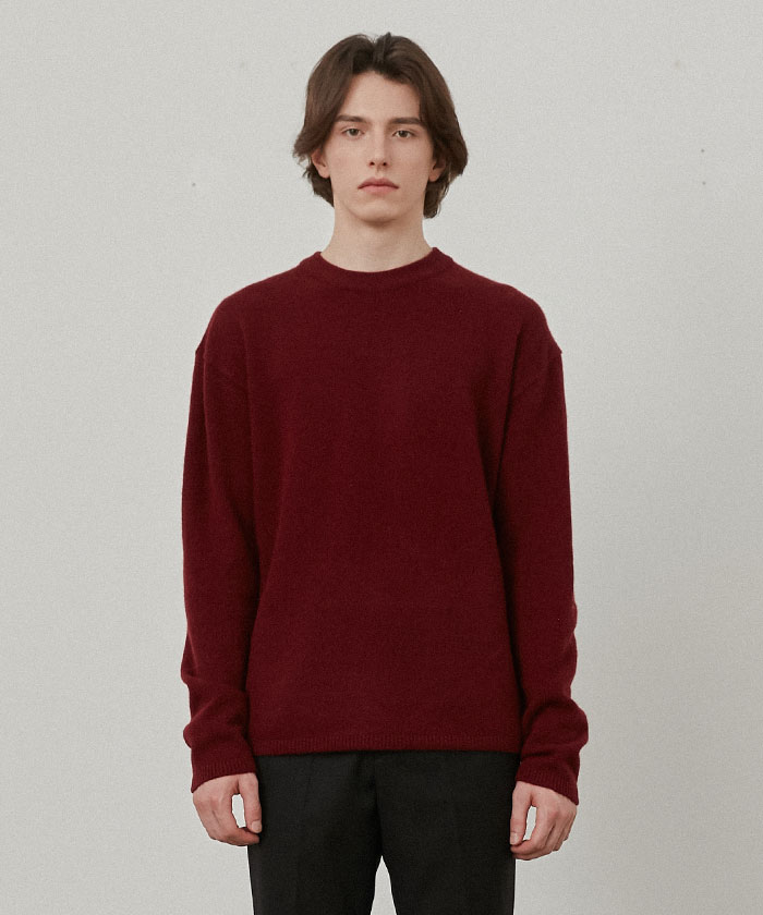 PURE CASHMERE ROUNDNECK KNIT[WINE]