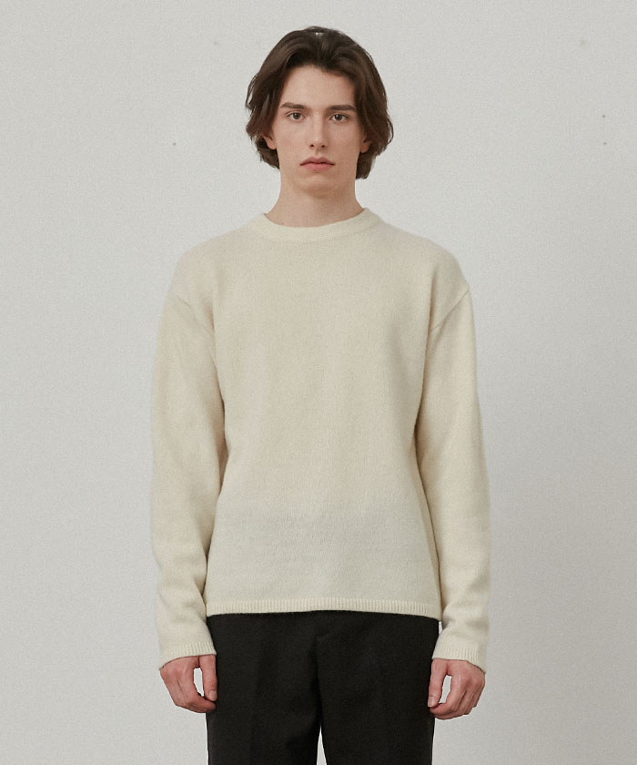 PURE CASHMERE ROUNDNECK KNIT[IVORY]