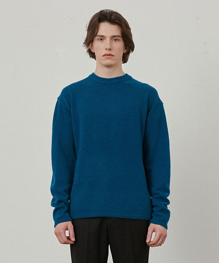 PURE CASHMERE ROUNDNECK KNIT[TEAL BLUE]