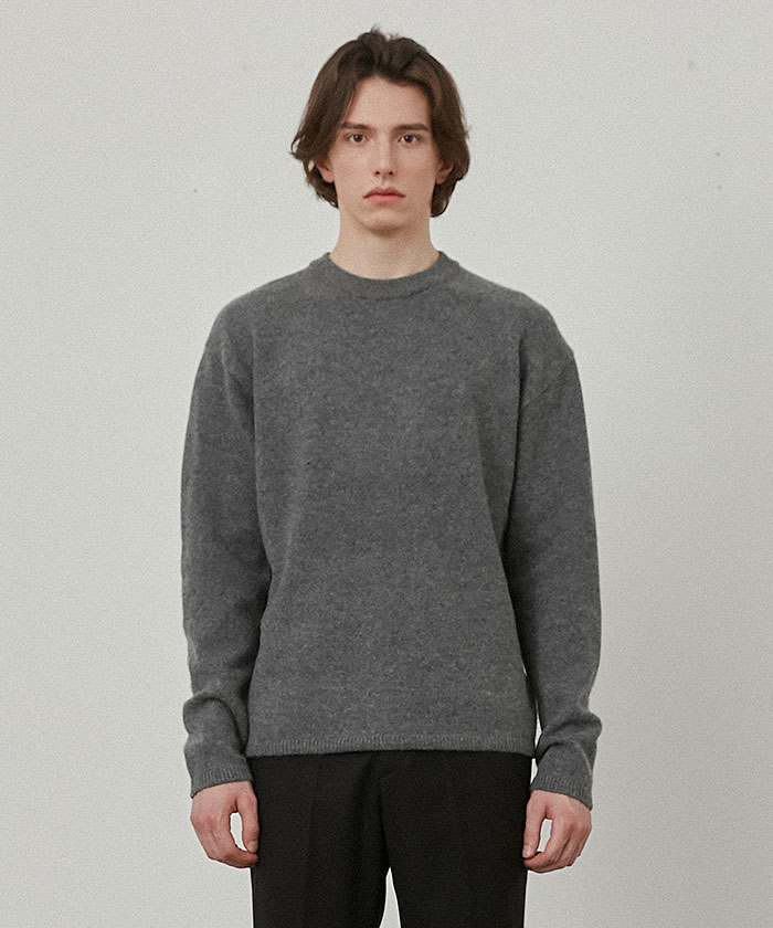 PURE CASHMERE ROUNDNECK KNIT[GREY]