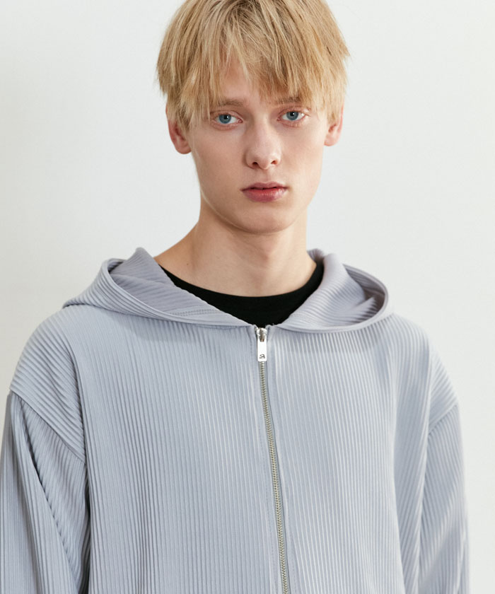 PLEATS HOOD ZIP-UP[GRAY]