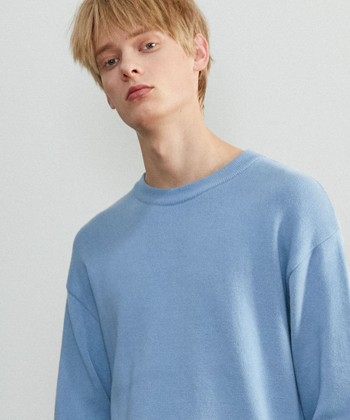 SOFT COTTON ROUNDNECK KNIT[GRAYISH BLUE]