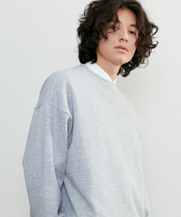JUST MINIMAL SWEATSHIRT[MELANGE GRAY]