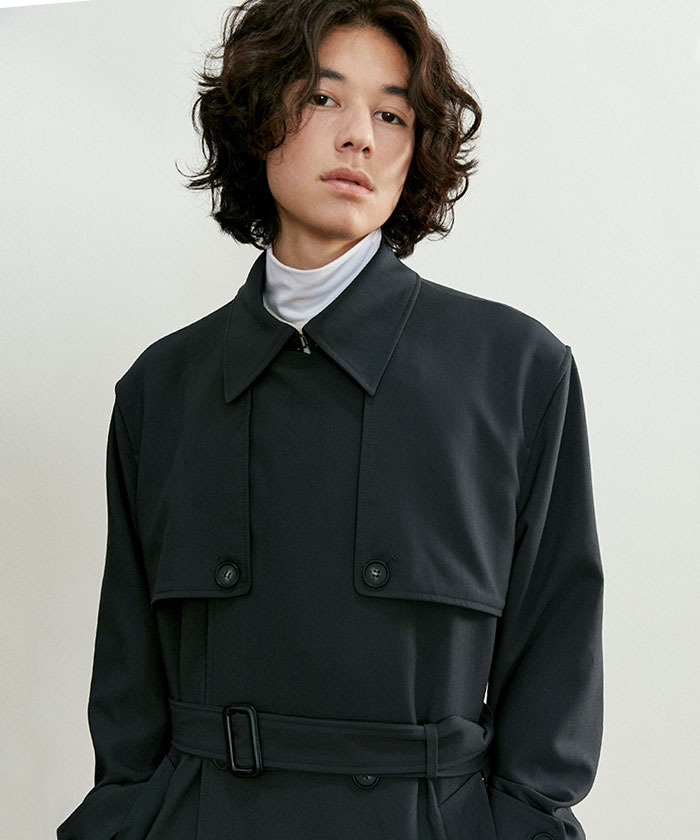 COMFORTABLE TRENCH COAT[CHARCOAL]