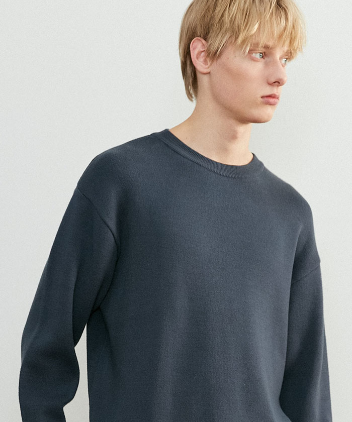 SOFT COTTON ROUNDNECK KNIT[CHARCOAL]
