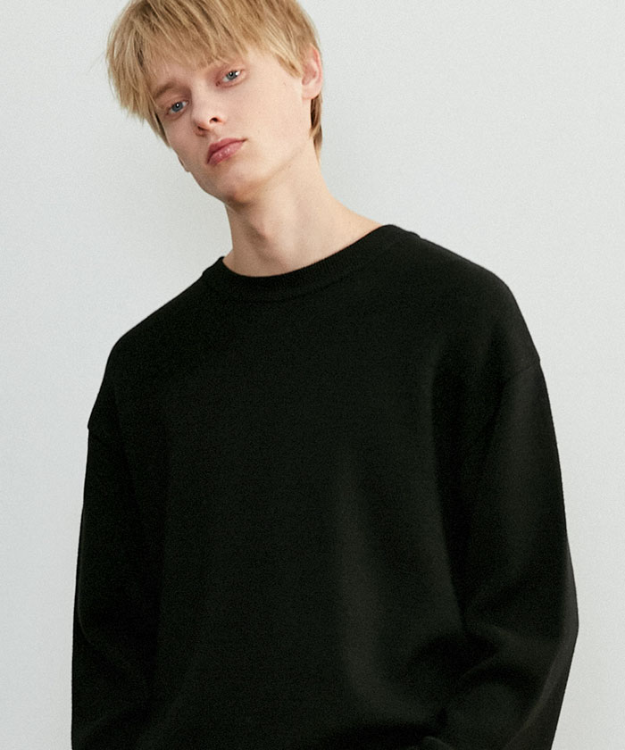 SOFT COTTON ROUNDNECK KNIT[BLACK]