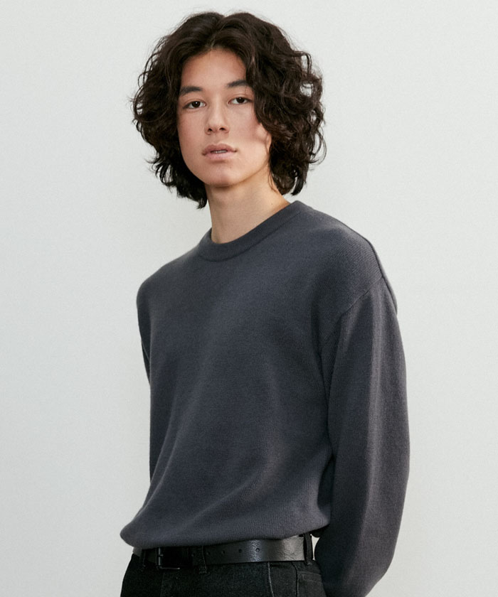 SOFT CASHMERE ROUNDNECK KNIT[CHARCOAL]