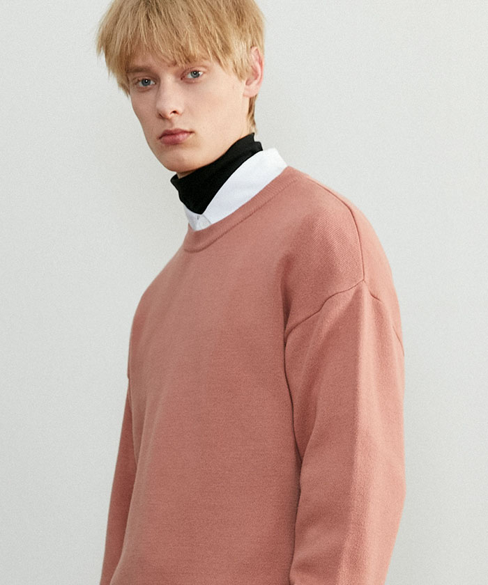 SOFT COTTON ROUNDNECK KNIT[DUSTY CORAL]