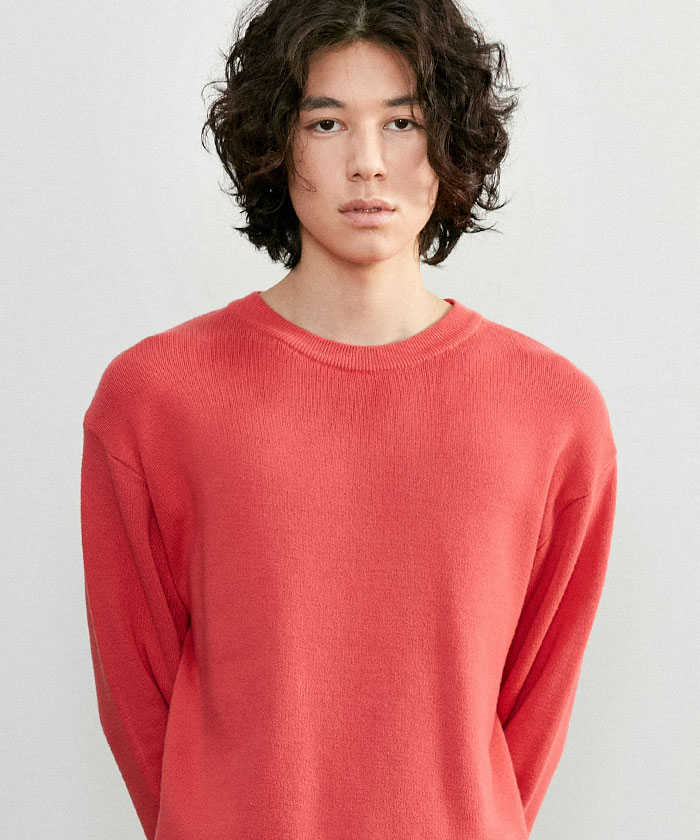 SOFT COTTON ROUNDNECK KNIT[CORAL]